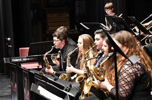 Photo of high school jazz band performing.