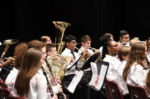 Photo of middle school band performing