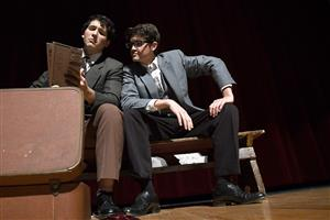 Photo of Jaiden Johnson and Nicholas Allen performing their characters Leo and Jack