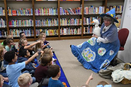 Mother Goose entertains students at Laura Reeves Primary